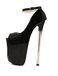 Chaussures Femme-Soirée & Evénement-Noir / Amande-Talon Aiguille-Talons / Bout Ouvert-Talons-Similicuir