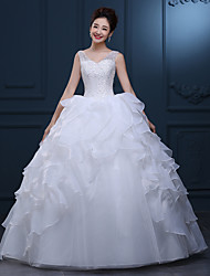 A-line Wedding Dress Floor-length V-neck Lace / Tulle with Lace