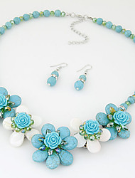 Women Boutique Fashion Bohemian Imitation Turquoise Shell Flower Necklace / Earrings Sets