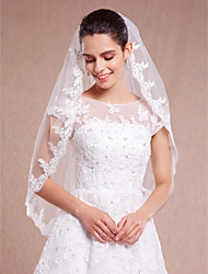 White or Ivory Bridal Wedding Veil One-tier Fingertip Veils Lace Applique Edge With Comb