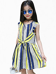 Girl's Blue / Yellow Dress Cotton Summer