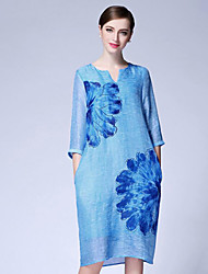 Women's Plus Size / Casual/Daily Street chic Loose Dress,Floral V Neck Midi ¾ Sleeve Blue Linen Summer