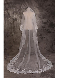 Wedding Veil One-tier Cathedral Veils Cut Edge / Lace Applique Edge Tulle White White
