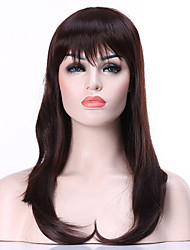 Fashion Dark Brown Long Straight Woman's Synthetic Wigs Hair