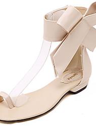 Damen Flache Schuhe Komfort PU Sommer Normal Komfort Flacher Absatz Schwarz Rot Mandelfarben Flach