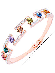 Casual Gold Plated / Silver Plated / Alloy / Rhinestone / Gemstone & Crystal Bangle Bracelet