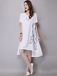 Mulheres Vestido Solto Boho / Moda de Rua Sólido Altura dos Joelhos Decote Redondo Linho