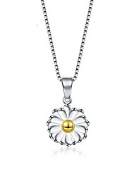 Sterling-Silver-Jewelry 2016 Love Summer High Quality Silver 925 Necklaces Korean Retro Daisy Flowers Pendant