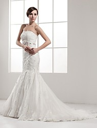 Trumpet / Mermaid Wedding Dress Court Train Strapless Organza / Satin with Appliques / Beading