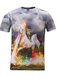 Masculino Camiseta Poliéster Estampado Manga Curta Casual / Formal / Esporte-Cinza