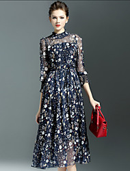 Mulheres Vestido Evasê Simples Estampado Médio Gola Redonda Seda / Nylon