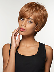 Simple Short Straight Remy Human Hair Hand Tied-Top Wigs for Woman