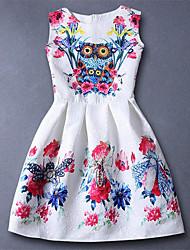 Vestido Chica de-Todas las Temporadas-Rayón-Blanco
