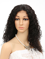 "18-20"" 7A Brazilian Virgin Human Hair 130% Density Curly wave FrontLace Wigs Hand Tied LaceFront Wigs"