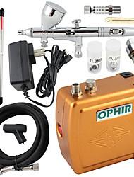 OPHIR 3 Tips Dual Action Airbrush Kit 12V Golden Mini Airbrush Compressor Nail Art Cake