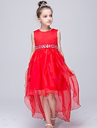 Girl's Red / White Dress,Floral Polyester Summer
