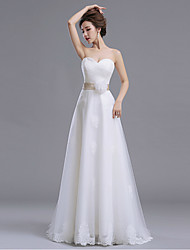 A-line Wedding Dress-Ivory Floor-length Sweetheart Lace / Tulle