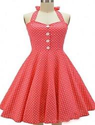 Women's Vintage Polka Dot Swing Dress,Halter Knee-length Cotton
