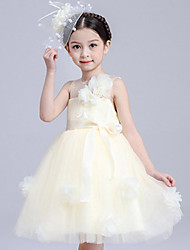 Girl's Cotton Summer Big Flower One-shoulder Lace Dress