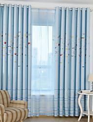 Deux Panneaux Moderne Animal Bleu chambre d'enfants Polyester Rideaux occultants rideaux