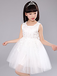 A-line Knee-length Flower Girl Dress-Lace / Tulle Sleeveless