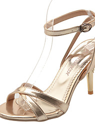 Women's Shoes Stiletto Heel Heels / Ankle Strap / Open Toe Sandals Office & Career / Dress / Casual Red / Silver / Gold