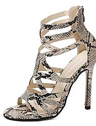 Women's Shoes Leatherette Stiletto Heel Heels Sandals Party & Evening Beige