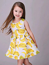 Girl's Yellow Dress,Print Cotton Summer