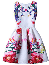 Girl's Cotton Summer Sleeveless Big Flowers Floral Print Pattern Print Dress