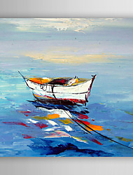 Oil Painting Impression Boats Hand Painted Canvas with Stretched Framed Ready to Hang