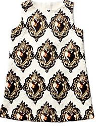 Girl's White Dress,Animal Print Cotton Summer