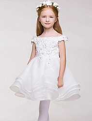 Ball Gown Short / Mini Flower Girl Dress - Satin Sleeveless Off-the-shoulder with