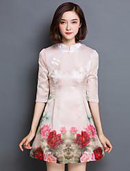 Mulheres Vestido Evasê / Bainha Vintage / Moda de Rua Floral Mini Colarinho Chinês Algodão / Poliéster