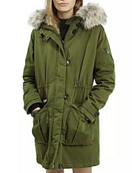 Women's Solid Green Padded Coat,Street chic Hooded Long Sleeve