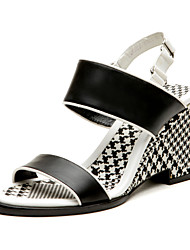 Aokang® Women's Houndstooth Wedge Heel Leather Sandals (black and white)