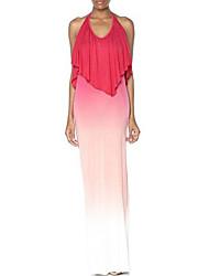 Women's Sexy / Boho Print Sheath Dress,Halter Maxi Polyester / Spandex