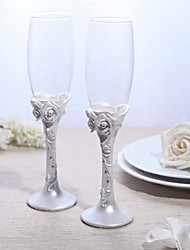 Lead-free Glass Toasting Flutes-1 pair Piece/Set