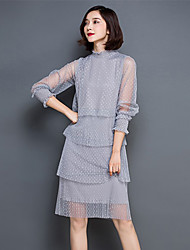 Women's Simple Solid Lace Dress,Crew Neck Knee-length Polyester