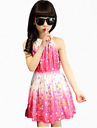 Girl's Green / Red Dress,Floral Cotton Summer