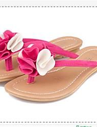 Women's Shoes Fabric Flat Heel Flip Flops Flip-Flops Outdoor / Casual Black / Pink / White