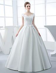 A-line Wedding Dress Floor-length V-neck Satin with Appliques / Beading / Bow