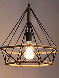 Retro Creative hemp rope Pendant Lights Wrought Iron Birdcage Shade Dining Room the cafe bar counter light Fixture