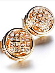 Men's Fashion Crystal Gold Alloy French Shirt Cufflinks (1-Pair)