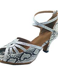 Chaussures de danse(Argent) -Personnalisables-Talon Bobine-Similicuir-Latine