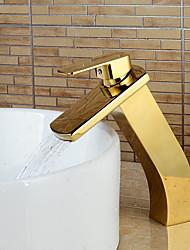 Modern Heightening Ti-PVD Finish Waterfall Bathroom Sink Faucet - Gold