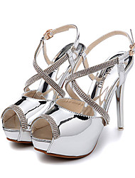 Women's Shoes Patent Leather Stiletto Heel Peep Toe Sandals Dress Silver / Gold
