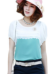 Women's Casual/Daily Simple / Street chic Summer Blouse,Color Block Round Neck Short Sleeve Blue / Pink / Green / Yellow Polyester Thin