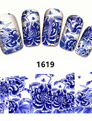 2Sheet New Nail Art Full Cover Blue Flower Stickers Decals Water Transfer Wraps Decorations Manicure Care Tools
