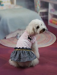 Dog Dress Pink Dog Clothes Summer / Spring/Fall Color Block Fashion