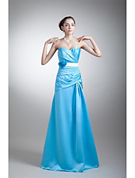 Prom Formal Evening Dress - Floral A-line Sweetheart Floor-length Stretch Satin with Flower(s) Sash / Ribbon Pleats